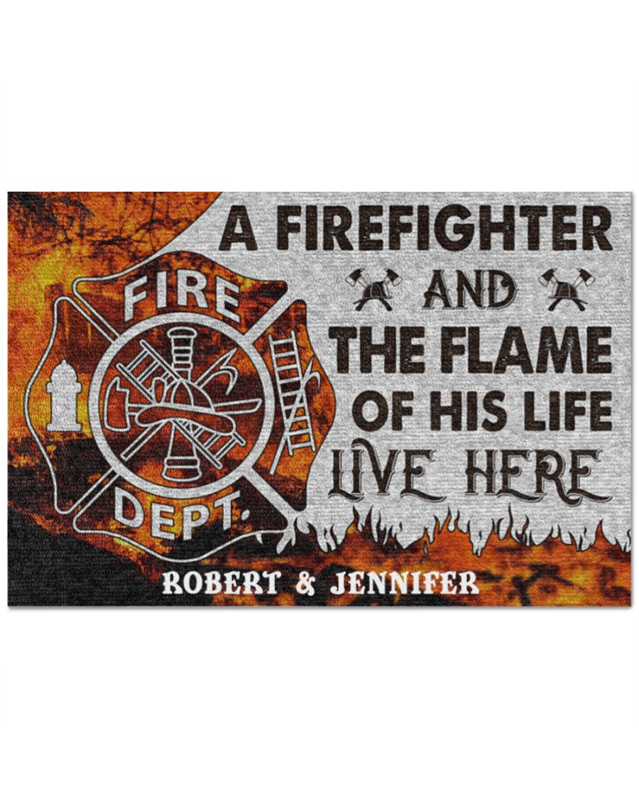 Personalized-A-firefighter-and-the-flame-of-his-life-live-here-doormat